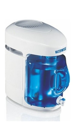"Waterwise - Waterwise Water Distiller 9000, White - Using the 9000 is easy! Fill the removable boiler with ordinary tap water and plug into any standard electrical outlet. Push the start button...and that's it! The 9000 will stop automatically when the cycle is finished. Included with the 9000, is a 1 gallon Polycarbonate BPA FREE collector/storage bottle which fits conveniently into your refrigerator.Effectively removes substances such as arsenic, aluminum, bacteria, chloride, chlorine, chloroform, copper, fluoride, lead, mercury, nitrates, sodium, sulfate, trihalomethanes (THM) and viruses External heating element for long life and a 30 minute fan-delayed start for improved efficiency Thermoplastic boiler has a concealed heating element that cannot become coated with scale and mineral deposits Detachable power cord Efficient Production Cycle - 1 Gallon in 4.5 Hours Distillate Capacity: 5 Gallons (18.9 liters) in 24 hoursAutomatic Shut Off w/Manual Fill Post Carbon Treatment System Stainless Steel Condenser - Not Aluminum Unique Recessed Heating Base Reduces Scale Buildup Removable Boiling Tank for Quick Fill & Easy Cleaning Detachable 36"" Power Cord Dimensions: 15 H x 16 D x 9.5"" W 1-Year warranty"