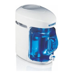 """Waterwise - Waterwise Water Distiller 9000, White - Using the 9000 is easy! Fill the removable boiler with ordinary tap water and plug into any standard electrical outlet. Push the start button...and that's it! The 9000 will stop automatically when the cycle is finished. Included with the 9000, is a 1 gallon Polycarbonate BPA FREE collector/storage bottle which fits conveniently into your refrigerator.Effectively removes substances such as arsenic, aluminum, bacteria, chloride, chlorine, chloroform, copper, fluoride, lead, mercury, nitrates, sodium, sulfate, trihalomethanes (THM) and viruses External heating element for long life and a 30 minute fan-delayed start for improved efficiency Thermoplastic boiler has a concealed heating element that cannot become coated with scale and mineral deposits Detachable power cord Efficient Production Cycle - 1 Gallon in 4.5 Hours Distillate Capacity: 5 Gallons (18.9 liters) in 24 hoursAutomatic Shut Off w/Manual Fill Post Carbon Treatment System Stainless Steel Condenser - Not Aluminum Unique Recessed Heating Base Reduces Scale Buildup Removable Boiling Tank for Quick Fill & Easy Cleaning Detachable 36"""" Power Cord Dimensions: 15 H x 16 D x 9.5"""" W 1-Year warranty"""