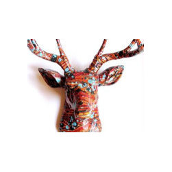 Wallpaper Deer Head Trophy by Ruby's Lounge - The idea of a deer head over my rather unremarkable living room arrangement is perfect. It's good to send the eye upward and make my guests question exactly what is going on up there.