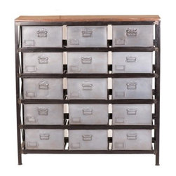 YOSEMITE HOME DECOR - Storage Cabinet - A truly unique piece for any room. This piece features a solid metal frame with 15 individual storage bins, covered with a solid mango wood top. Perfect for the Urban Loft look, or just a place that needs some extra storage space.  Assembled, Made in India.  Item Dimension are 48inches Widht X 15inches Depth X 50inches Height.