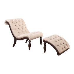 Adarn Inc - Upholstered Accent Lounge Chair Ottoman Set with Queen Anne Legs, Beige - Features: