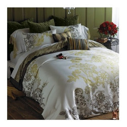"""Blissliving Home - 3 Piece Evita Duvet Set - Our sumptuous Evita modern duvet set is at once bold, modern and romantic, thanks to the colossal scale of our graphic lace motif in subtle hues of gold and slate on cotton sateen. Duvet and shams reverse to solid slate. Set includes duvet cover and shams. Features: -Available in Full / Queen or King sizes. -Includes comforter cover / matching shams. -300 Thread count. -Reverse to solid slate. -Button duvet, envelope sham. -Once bold, modern and romantic, thanks to the colossal scale of our graphic lace motif in subtle hues of gold and slate on cotton sateen. -Machine wash. Specifications: -Full / Queen dimensions: 90"""" W x 95"""" D. -King dimensions: 108"""" W x 95"""" D."""