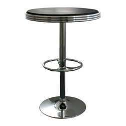 Buffalo Tools - AmeriHome Soda Fountain Style Bar Table - Black - Soda Fountain Style Bar Table - Black by AmeriHome The retro AmeriHome Soda Fountain Style Bar Table adds a classic design to the kitchen, bar, game room, basement, or shop. The bar table has the retro style reminiscent of the days of diners and drive-ins, and features a polished chrome base that is accented with a black vinyl top for a hint of classic vintage design.  The Soda Fountain Style Bar Table measures 25 inches in diameter, with a textured vinyl covering on the tabletop for easily wiping up spills.  The table features a built in footrest and an adjustable height, which makes this table comfortable for both kids and adults.  Classic vintage style 25 in. diameter table top Textured vinyl covering on tabletop Adjustable height from 26 to 36 in. 200 lbs. weight capacity
