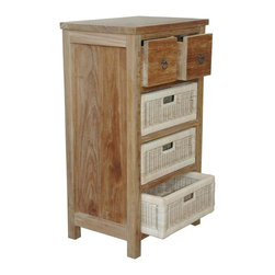 Anderson Teak - Safari Occasional Chest w 2 Drawers & 3 Rattan Baskets - 2 Drawers. 3 Rattan baskets. Teak wood construction. 20 in. W x 14.5 in. D x 35.5 in. H (50 lbs.)Safari occasional Table is a typical functional table with 2 drawers and 3 rattan baskets. The frame and both drawers are made of solid premium teak wood combined with handcrafts rattan baskets. This table is simple, straightforward, functional and sturdy. The natural color will blends with the outdoor environment.