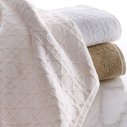 "Matouk - Matouk Bath Towel, 52"" x 30"" - Exclusively ours. Designed to coordinate with our Marcus Collection ""Cane"" bed linens, these plush, 600-gram cotton velour jacquard towels are available in three colors. Choose white, ivory, or linen below. Matching tub mat, 800 gram. Made in Portugal..."