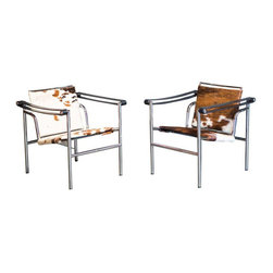 DWR Cowhide LC1 Sling Chairs - A Pair - $4,260 Est. Retail - $1,999 on Chairish. -