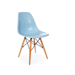 Vertigo Interiors - High Quality Eames Style Classic DSW Dowel Dining Lounge Side Chair, Blue - Looking for that retro/modern look? Something with a range of colors and quirky styling, yet a classic, cultured look? Vertigo's fantastic reproduction Eames range constantly continues to grow in popularity and is just what you're looking for! This is the dowel leg Eiffel version, combining beautiful maple legs with sleek colorful side chair seat.