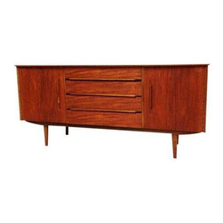 Pre-owned Teak Mid-Century Modern Sideboard - Mid-Century Modern sideboard in teak with three drawers and two doors ( small stain on the top). Vintage, manufacturer unknown. Wonderful Danish styling and ample storage to top off the fabulousness!
