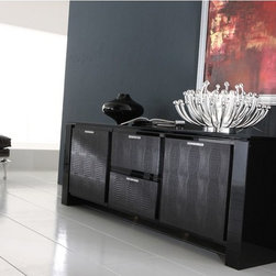 ROSSETTO DIAMOND BUFFET 2 DOORS + 2 DRAWERS - BLACK/IVORY - A combination of black gloss laquered surfaces, glass, leather effect and Strass ® Swarovski ® Crystal gives the sideboard a tone of unique elegance.