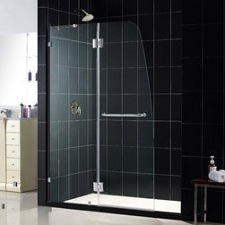 "DreamLine - DreamLine SHDR-3345728-01 AquaLux Shower Door - DreamLine AquaLux 46"" Frameless Hinged Shower Door, Clear 5/16"" Glass Door, Chrome Finish"