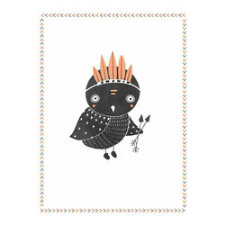 Rebecca Peragine Inc / Children Inspire Design - Boho Owl 18x24 Children's Wall Art Poster - 18x24 Wall Art Poster