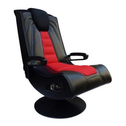 X-Rocker Spider Wireless Game Chair - When it comes to full-immersion video game playing don't be left without a seat at the table. The Ace Bayou X Rocker Spider Video Game Chair provides the ideal throne. This well-crafted chair serves your gaming needs perfectly as it surrounds you with the aural and tactile experience of the system of your choice. Using built-in speakers positioned around your head modern rocking chair design and sleek red and black styling you will be fully equipped to get more out of your home entertainment system. The chair's sleek black and red upholstery can take the rigors of intense game play and its easy-clean vinyl makes it ideal for everyday use. Since this chair is foldable storable portable and comfortable it also makes a great gift and perfect accoutrement to any dorm room. Video game chair dimensions: 30.71L x 22.64W x 37.6H inches Additional details: 3-inch full range arx™ speakers 5.5-inch powersub™ subwoofer iPod™ / mp3 / psp™ input and holster RCA audio inputs Headphone jack Volume and bass controls RCA multi-player audio outputs Breathable poly-stretch fabric Comfortable fire-retardant foam pad Illuminating speakers Folds in half for easy storage and transport Compatible with Xbox (all versions) Playstation (all versions) Nintendo Wii & DS Gameboy MP3s DVDs and more About Ace Bayou Corporation The product above is manufactured by Ace Bayou Corporation. Founded in 1986 Ace Bayou has grown into a group of diverse lifestyle-focused divisions. They all feature innovative quality products at prices that allow everyone to enjoy the benefits. Their lifestyle furniture division features youth and adult casual furniture including unique bean bags video rockers recliners and special seating products. As a recognized innovator in these categories Ace Bayou provides products that fit your lifestyle.