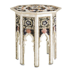Currey & Company - Currey & Company Aladdin Occasional Table CC-3148 - This octagon occasional table is brought to life with an array of shell patterns and formations. Exotic profiles with shells that seem to bloom like roses bridge eight sleek legs. A beautiful radial pattern is spread across the table top.