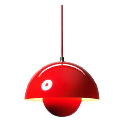 """&Tradition - Copenhagen - &Tradition - Copenhagen Flowerpot Pendant Light - The Flowerpot pendant light was designed by Verner Panton for &Tradition in 1968.  This contemporary pendant light has stood the test of time.  Designed in 1968, the Flowerpot pendant light was named after the happy days of Flower Power.  The Flowerpot pendant light is made from steel with a laquered finish that is available in twelve vibrant colors.   Product description: The Flowerpot pendant light was designed by Verner Panton for &Tradition in 1968.  This contemporary pendant light has stood the test of time.  Designed in 1968, the Flowerpot pendant light was named after the happy days of Flower Power.  The Flowerpot pendant light is made from steel with a laquered finish that is available in twelve vibrant colors.              Details:                         Manufacturer:                        & Traditions                                                 Designer:                        Verner Panton                                         Made in:                        Denmark                                         Dimensions:                        Width: 9""""(23 cm) X Height: 6.2"""" (16 cm)                                          Light bulb::                        1 X 40 W Max E27 incandescent                                         Material:                                                                                    Steel"""