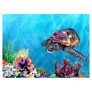 """Brazen Design Studio - Watercolor Painting - Sea Turtle Art Print 11x14 - """"Sea Turtle"""" is a giclee reproduction of an original watercolour painting on Yupo by professional artist Brazen Edwards, using Epson Ultrachrome professional archival ink printed on Somerset Velvet, which has the look and feel of watercolour paper."""