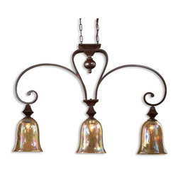 Uttermost - Uttermost Elba 4 Light Kitchen Island Light 21051 - Grand in scale, these pieces with curved arms banded with square shapes and accents, are made even more unique with the iridescent shimmer of crackle glass holding fat candles. Spice finish