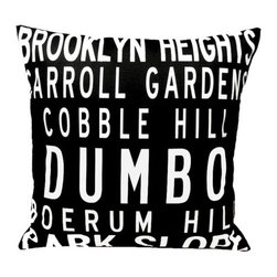 "Uptown Artworks - Brooklyn Neighbordhoods Pillow - Features: -Material: Natural cotton / linen. -We recommend spot-cleaning or wash in cool water with phosphate-free detergent. -Zipper closure, plush feather and down insert. -Made in the United States. -Eco-friendly. -Overall dimensions: 20"" H x 20"" W, 2 lbs."