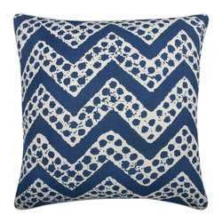 """Thomas Paul - Marine Blue Chevron Design Throw Pillow - The handmade, oversized Thomas Paul Marine Blue Chevron Design throw pillow features a hand silk-screened chevron print on 100% unbleached natural cotton.  The modern pattern and bold color are a perfect way to kick up the design of any living room or bedroom. The design is reversible with opposite coloration on either side. The throw pillow has piped edges and comes with a feather insert. This is one of those great pieces that pairs well with solids or prints.    About the Artist: After graduating from NYC's famed FIT, Thomas Paul started his career as a colorist and designer at a silk mill. Eventually, he leveraged his knowledge of silk materials & print to launch a neckwear line of his own. Over time, Paul loved the idea of applying menswear print and design into a collection of home decor, which is what we see in his goods today. His background has embedded in him a passion for quality production techniques. Even as his brand grows, he continues to ensure all of his prints are hand screened - a slow, detailed process that results in each piece being a unique piece of artwork. Paul also pushes the envelope in terms of bold prints and hand ground materials.       """"My vision for the thomaspaul brand has always been about combining classic design motifs from different periods in textile design. Incorporating anything from an 18th century Damask pattern to a camouflage print. The unifying thread between so many different styles is to change the designs so they are updated for today. For me this means changing the scale, so they are always bold, and reducing down the colors and details, so most designs are reduced to two or three colors and become very flat, bold prints. I am always looking to vintage fabrics and motifs for inspiration and new ideas, but always try to update these to look good for today."""" - Thomas Paul   Product Details:"""