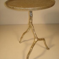 Clark Street Twig Side Table - Clark street silvered iron tripod twig side table. Can also be ordered in distressed gold finish.