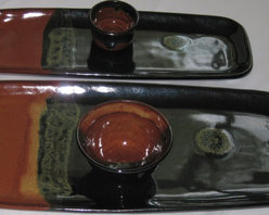 Handmade Decor Accents - Stately Feel - Two sets of large rectangular handmade platter sets with matching dip bowls.  Perfect center-piece and serving entertaining dinner sets in any setting of fine taste!