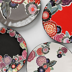 Zinnia Thicket Salad Plate, Grey - I would pair this salad plate with cucumber and red onion salad with a rice wine vinegar dressing that has a hint of sugar, fish sauce and chile paste.