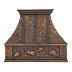 """30"""" L Tuscan Series Copper Wall-Mount Range Hood - Grape Motif - Hood Only - Bring the feel of Tuscany to your kitchen with this grape motif wall-mount range hood. Made with quality craftsmanship from solid copper."""