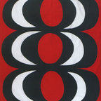 KAIVO Red/Black Fabric by Marimekko - This bold geometric print from Marimekko is a mid-century classic, designed by Maija Isola back in 1965.  Use one panel stretched over a canvas as a work of art, or perhaps pack a big statement into a KAIVO duvet cover.