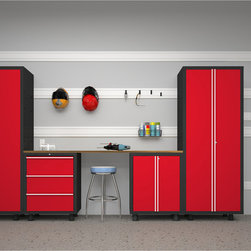 Newage Products - NewAge Products Bold Series 5-Piece Cabinetry Set in Red - Store bins and bulky items while maximizing garage storage space to keep clean and clutter-free with this cabinetry set. The tool drawers bring a wonderful efficiency while the cabinets keep specific belongings locked and safe.