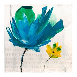 Blue and Yellow Floral Oil On Canvas - *The crispness of white is enhanced with raised typography and a bold blue and yellow bloom in this value price oil painting.