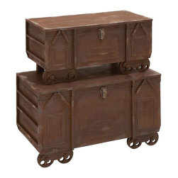 Benzara - Superior Grade Wooden Trunk with Rustic and Earthy Color - Revamp your personal space with 21 in. H Superior Grade Wooden Trunk with Rustic and Earthy Color. Shaped like a train, these wood trunks are perfect to steal the show. You can stow these trunks as a foot bed or place it as a decor accessory. It is easy to create a focal point within the room with these trunks. Flaunting an admirable design, these wooden trunks are capable of revamping your personal space. Exuding vintage attributes, these wooden trunks look impressive and add newness to the room. Smeared in rustic and earthy color, these trunks seem antique. Armed with a lock, these trunks also have castors affixed at the bottom to ease movement. You can also gift these trunks to someone who loves antique trains. Crafted of wood, these trunks are sturdy in make and have high durability..
