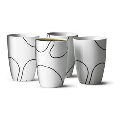 Menu A/S - Black Contour Thermo Cup - Set of 4 - Menu A/S - Here is a cup that combines well thought-out Danish design with all the advantages of a thermo mug. The beautiful, hand-drawn motif emphasizes the symbiosis of form between Japanese minimalism and cool Scandinavian calm.