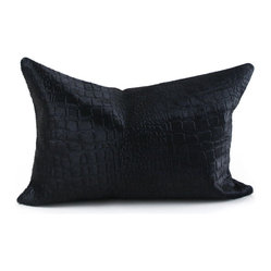 Pfeifer Studio - Croc and Cowhide Pillow - This classic lumbar pillow mixes the sophisticated look of crocodile with the rugged feel of cowhide. The two-sided design gives you added flexibility when styling a couch or chair. It's great to know you can just flip it over depending on your mood.