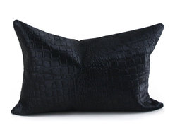 Pfeifer Studio - Crocodile Embossed Cowhide Pillow, Black - This classic lumbar pillow mixes the sophisticated look of crocodile with the rugged feel of cowhide. The two-sided design gives you added flexibility when styling a couch or chair. It's great to know you can just flip it over depending on your mood.