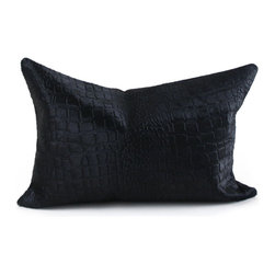Pfeifer Studio - Crocodile Embossed Cowhide Pillow, Black - This statement-making pillow in cowhide embossed with the look of crocodile has a black linen back. The emboss on this decorative throw pillow can soften with heavy use and it is not recommended for commercial spaces. Each is fitted with a medium-fill feather and down inner and finished with a hidden zipper. Our pillows are each individually handmade-to-order using natural materials, each is considered unique and one-of-a-kind.