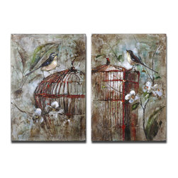 Uttermost - Uttermost Birds In A Cage 2 Painted Artworks on Canvas - 2 Painted Artworks on Canvas belongs to Birds In A Cage Collection by Uttermost This hand painted artwork on canvas has been stretched and attached to wooden stretching bars. Due to the handcrafted nature of this artwork, each piece may have subtle differences. Panel (2)
