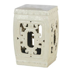 Belle & June - White Square Hook Garden Stool - This classic Chinese garden stool instantly adds an artistic element to your space. Add a touch of glamour to your bedroom, use it as a pedestal for a tall oriental vase or put it in your entryway for a mysterious Asian accent.