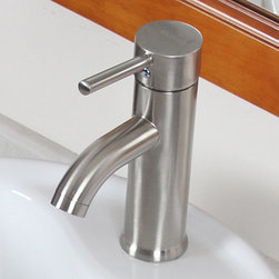 None - CAE Luxury Short Brushed Nickel Single Handle Bathroom Lavatory Faucet - This short Elite single handle lever luxury bathroom vessel sink faucet offers outstanding performance,simplified installation and easy maintenance.