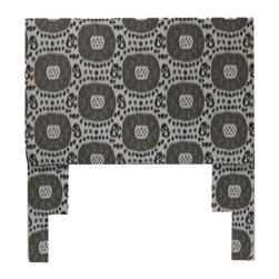 Robert Allen Ikat Full Size Headboard - This full-size headboard upholstered in a Robert Allen indoor-outdoor ikat pattern is sure to jazz up your bedroom. Neutral in color, it would be an excellent addition to many different types of decor. Includes a metal frame for easily installation.
