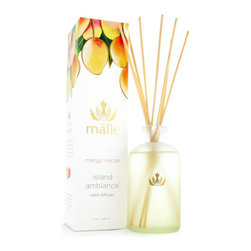 Malie Organics 'Island Ambience - Mango Nectar' Organic Reed Diffuser - Transform any room into a tropical paradise with exotic aromas of the Islands. The best-selling diffusers are comprised of delicate reeds that allow the subtle release of beautiful scents for over a year. It is the highest quality diffuser on the market and the difference is Malie's exclusive use of alcohol-free pure perfume oil. Experience paradise in the comfort of your own home.Mango nectar brings the satisfaction of summer year-round, capturing the rich pink-orange hues and majesty of an inspirational Hawaiian sunset. Color(s): none. Brand: MALIE ORGANICS. Style Name: Malie Organics 'Island Ambience - Mango Nectar' Organic Reed Diffuser. Style Number: 648038.