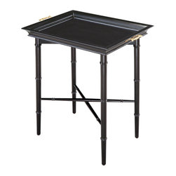 Sterling Industries - Sterling Industries 6042198 Piccadilly Tray Table - Ebony - Rectangular Serving Tray Fits Perfectly On A Faux Bamboo Folding Stand To Make A Functional Serving Table.  The Stand Folds For Easy Storage.  Tray Table (1)