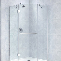 "DreamLine - DreamLine Prism-X 40 3/8"" by 40 3/8"" Frameless Hinged Shower Enclosure - The Prism-X shower enclosure has a unique corner installation design that saves space and becomes a beautiful focal point. A flowing frameless design and premium  thick tempered glass create the rich look of custom glass. The Prism-X is easy to install with innovative wall profiles and a wall-attached support bar. Add a DreamLine shower base and shower backwalls for a streamlined cost effective transformation. 40 3/8 in. D x 40 3/8 in. W x 72 in. H ,  3/8 (10 mm) thick clear tempered glass,  Chrome or Brushed Nickel hardware finish,  Frameless glass design,  Out-of-plumb installation adjustability: Up to 3/8 in. per side,  Solid brass hinges,  Anodized aluminum wall profiles,  Designed to be installed against finished walls (not directly to studs),  Door opening: 23 5/8 in.,  Two stationary panels: 23 in. and 23 3/8 in.,  Reversible for right or left door opening installation,  Material: Tempered Glass, Aluminum,  Optional SlimLine shower base available ,  Tempered glass ANSI certified,  Plumbing codes vary by state; DreamLine is not responsible for code complianceNote: To minimize possible leakage, install shower head opposite of the shower opening pointed toward tiled walls, fixed panels or directly down the floorProduct Warranty:,  Limited 5 (five) year manufacturer warranty"