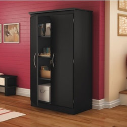 South Shore - Morgan Collection Storage Cabinet in Pure Black - A simple and stylish floor cabinet offering functional storage options. Perfect for the home office, bedroom, basement and even garage. Features: -Cabinet features adjustable shelving. Included is one large fixed shelf, one large adjustable shelf and two small fixed shelves. -This practical floor cabinet can be used easily in almost any room of the house. -Plastic handles with a black finish . -Transitional Style. -Available in Chocolate (7259), Pure Black (7270) and Morgan Cherry (7276). -Our products are made of EPP certified panels (Environmentally Preferred Product).. -5 year Warranty.