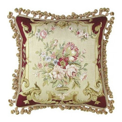 "EuroLux Home - New 20""x20"" Aubusson Throw Pillow Hand-Woven - Product Details"