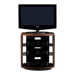 BDI - Valera TV Stand 9721, Chocolate Stained Walnut - The Valera collection of open TV stands beautifully frames a home theater system and provides a semi-enclosed appearance. The center tempered grey tinted glass shelf(s) is adjustable and the back panel features integrated wire management to keep cables under control. Valera 9721 is a four-shelf stand, perfect for use in the bedroom or anywhere the TV needs to be a little taller. The integrated swivel base has three adjustable settings - rotating 360, swiveling 30 for corners, or secured in place.