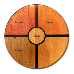 Authentic Oak Barrel Head Lazy Susan - Showcase your favorite wines or appetizers with an authentic wood barrel head Lazy Susan, the perfect addition to your kitchen or home bar decor. This gorgeous wooden Lazy Susan is made from a real oak barrel head and comes with your choice of finish.