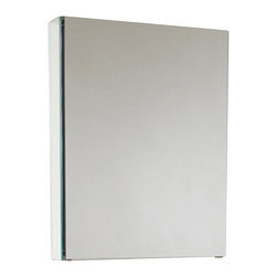 "Fresca - Small Bathroom Medicine Cabinet - This 20"" medicine cabinet features mirrors everywhere.  The edges have mirrors and also on the interior of the medicine cabinet.  The inside features two tempered glass shelves.  Can be wall mounted or recessed into the wall. Dimensions: 19.5""W X 26""H X 5""D; Features: 2 Glass Shelves; Soft Closing Mirror; Recessed Mounting Option; Finish: Mirror; Material: ; Hardware: Glass; Hardware: Chrome; Assembly: Fully Assembled"