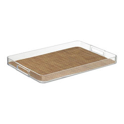Kraftware - Handled Lucite Tray in Sienna - Woven vinyl tray liner. Removable liner for easy cleaning. Stain resistant and easy to clean. Cut out handles for easy carry. Extra large size. Stain resistant fabric. Clean with a damp cloth or mild soap and water. Made from highest quality lucite. 19 in. L x 14 in. W x 4 in. H (2 lbs.)Kraftware's Woven Collection brings beauty and durability to the Table and Bar.