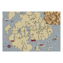 Custom Cool - Mount Desert Island Map Rug 3x5 Handknotted Light Blue, Burgundy, White & Blue - If you have a passion for treasure maps and nautical adventures then this is the rug for you! Hand crafted by master Nepalese weavers utilizing techniques passed on through the ages, this whimsical hand knotted rug is an engaging design depicting the most beloved Island off the coast of Maine.