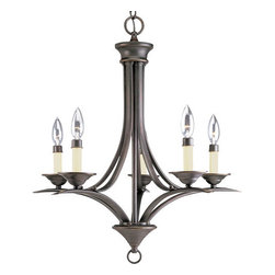 Progress Lighting - Progress Lighting P4327-20 Trinity Five-Light Single-Tier Candelabra Chandelier - Gracefully exotic, the Trinity collection offers classic sophistication for transitional interiors. With or without etched glass shades, sweeping, minimalist forms are enhanced by Brushed Nickel, Polished Brass, Antique Bronze or Cobblestone finishesFeatures: