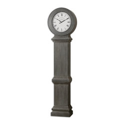 Uttermost - Uttermost 06086  Chouteau Floor Clock - This stately floor clock features an antiqued, dusty gray finish with burnished edges. quartz movement. coordinates with mantel clock #06088.